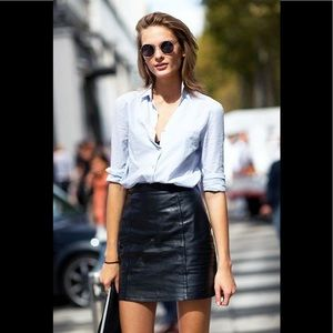 VALERIE STEVENS Lambskin Leather Mini Skirt